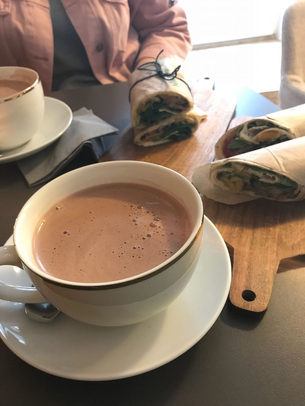 """Photo of SOUL Vegan Coffee Bar  by <a href=""""/members/profile/Philearny"""">Philearny</a> <br/>Heiße Schokolade mit Mandelmilch und ein Hummus-Wrap <br/> October 24, 2017  - <a href='/contact/abuse/image/98256/318459'>Report</a>"""