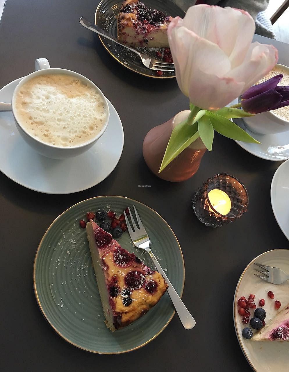 """Photo of SOUL Vegan Coffee Bar  by <a href=""""/members/profile/Charly0993"""">Charly0993</a> <br/>Café Latte + Cheezcake <br/> February 17, 2018  - <a href='/contact/abuse/image/98256/360255'>Report</a>"""