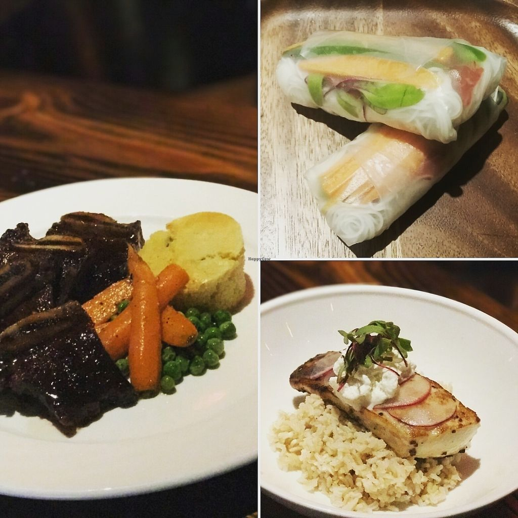 """Photo of The Library  by <a href=""""/members/profile/SteveFitz"""">SteveFitz</a> <br/>Something for everyone! Vegan summer rolls, braised short ribs, and crispy red grouper <br/> August 11, 2017  - <a href='/contact/abuse/image/98259/291588'>Report</a>"""