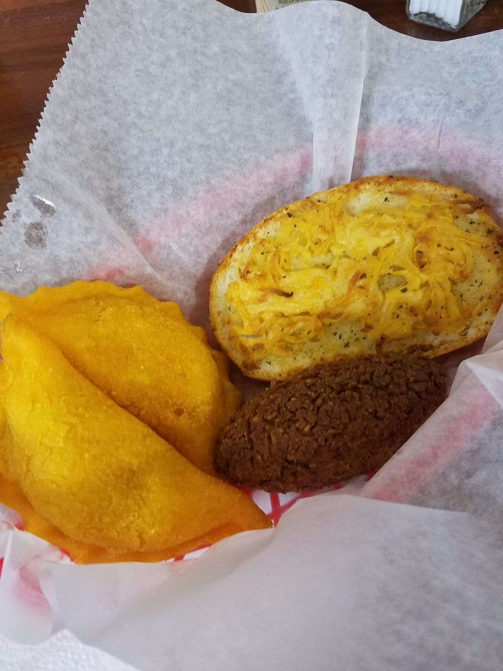 """Photo of The Happy Vegan Bakers  by <a href=""""/members/profile/Consciouschink"""">Consciouschink</a> <br/>Vegan Colombian empanadas, Vegan Kibbehs & Vegan Texas Toast w/ cheeze <br/> November 13, 2017  - <a href='/contact/abuse/image/98276/325373'>Report</a>"""