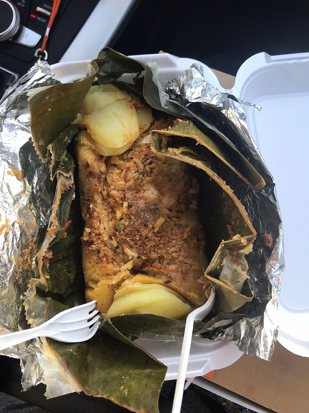 """Photo of The Happy Vegan Bakers  by <a href=""""/members/profile/foolsircle"""">foolsircle</a> <br/>Huge Tamal. Full of rice, vegan chicken, potatoes, etc <br/> March 27, 2018  - <a href='/contact/abuse/image/98276/376679'>Report</a>"""