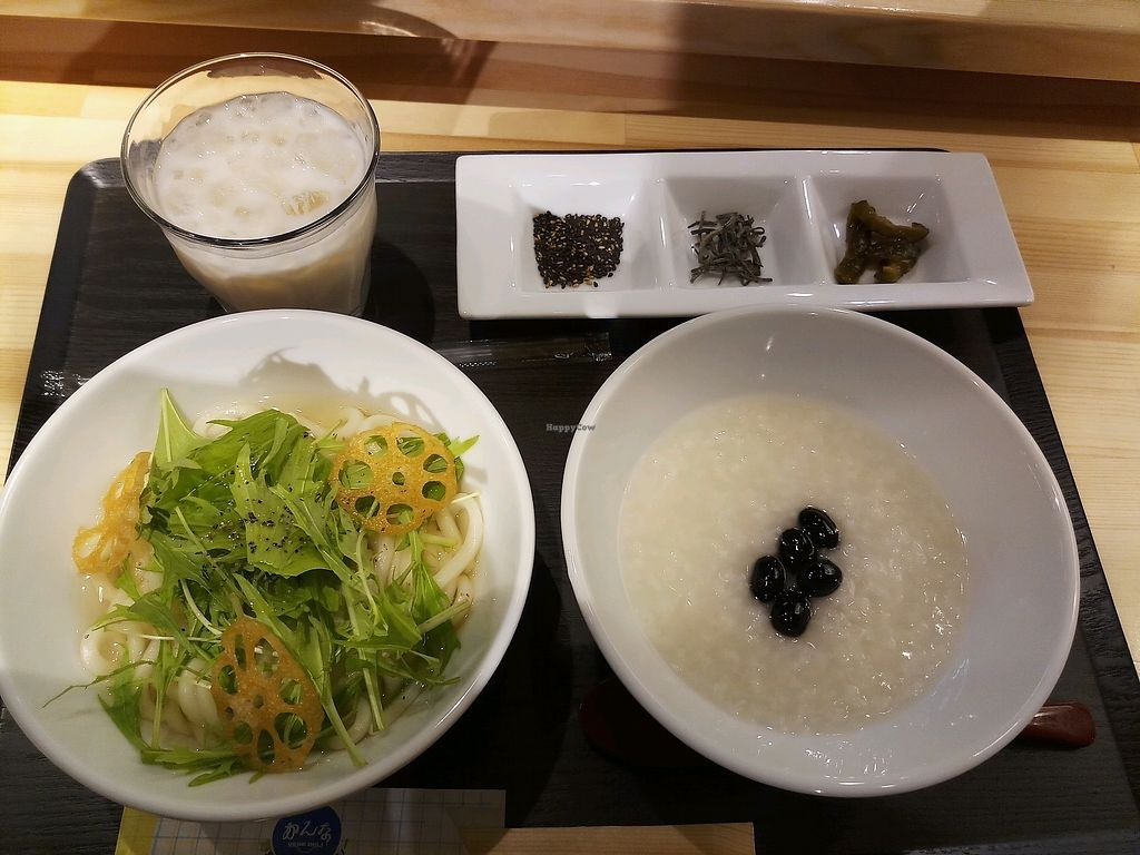 "Photo of Vege Deli Kanna  by <a href=""/members/profile/MissEunice"">MissEunice</a> <br/>Amazake, hot vege udon and black beans porridge <br/> January 6, 2018  - <a href='/contact/abuse/image/98278/343625'>Report</a>"