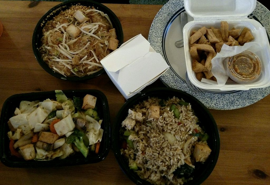 """Photo of Five Star Thai Cuisine  by <a href=""""/members/profile/RosieTheVegan"""">RosieTheVegan</a> <br/>Pad Thai Woon Sen, Garlic Stir-Fry, Basil Fried Rice, Fried Tofu.  All veganized, all fantastic!!  Tell them you're vegan and they are very accomodating with ingredients <br/> November 14, 2017  - <a href='/contact/abuse/image/98332/325461'>Report</a>"""