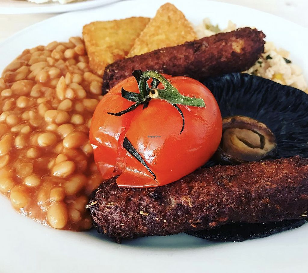 """Photo of The Street Cafe  by <a href=""""/members/profile/TheAccessibleVegan"""">TheAccessibleVegan</a> <br/>Vegan full English breakfast <br/> August 12, 2017  - <a href='/contact/abuse/image/98340/291998'>Report</a>"""