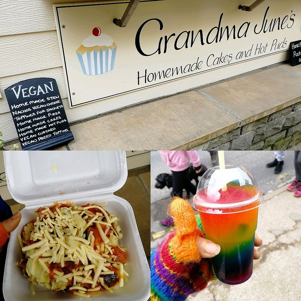 "Photo of Grandma June's - Food Cart  by <a href=""/members/profile/HanMW96"">HanMW96</a> <br/>Ratatouille and vegan cheese jacket potato, rainbow slushie  <br/> April 8, 2018  - <a href='/contact/abuse/image/98346/382656'>Report</a>"