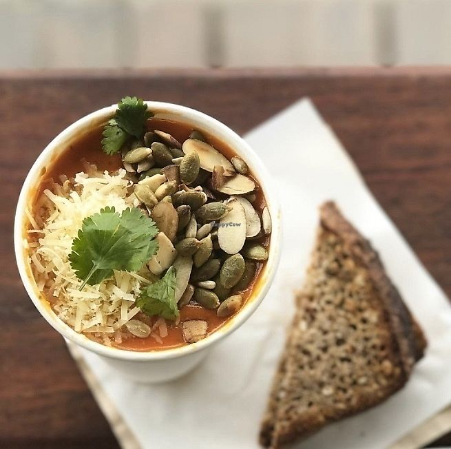 "Photo of Dripping Bowl - Food Trailer  by <a href=""/members/profile/AndiKate"">AndiKate</a> <br/>Ginger Tomato Soup with epic toppings!  <br/> September 17, 2017  - <a href='/contact/abuse/image/98372/305526'>Report</a>"