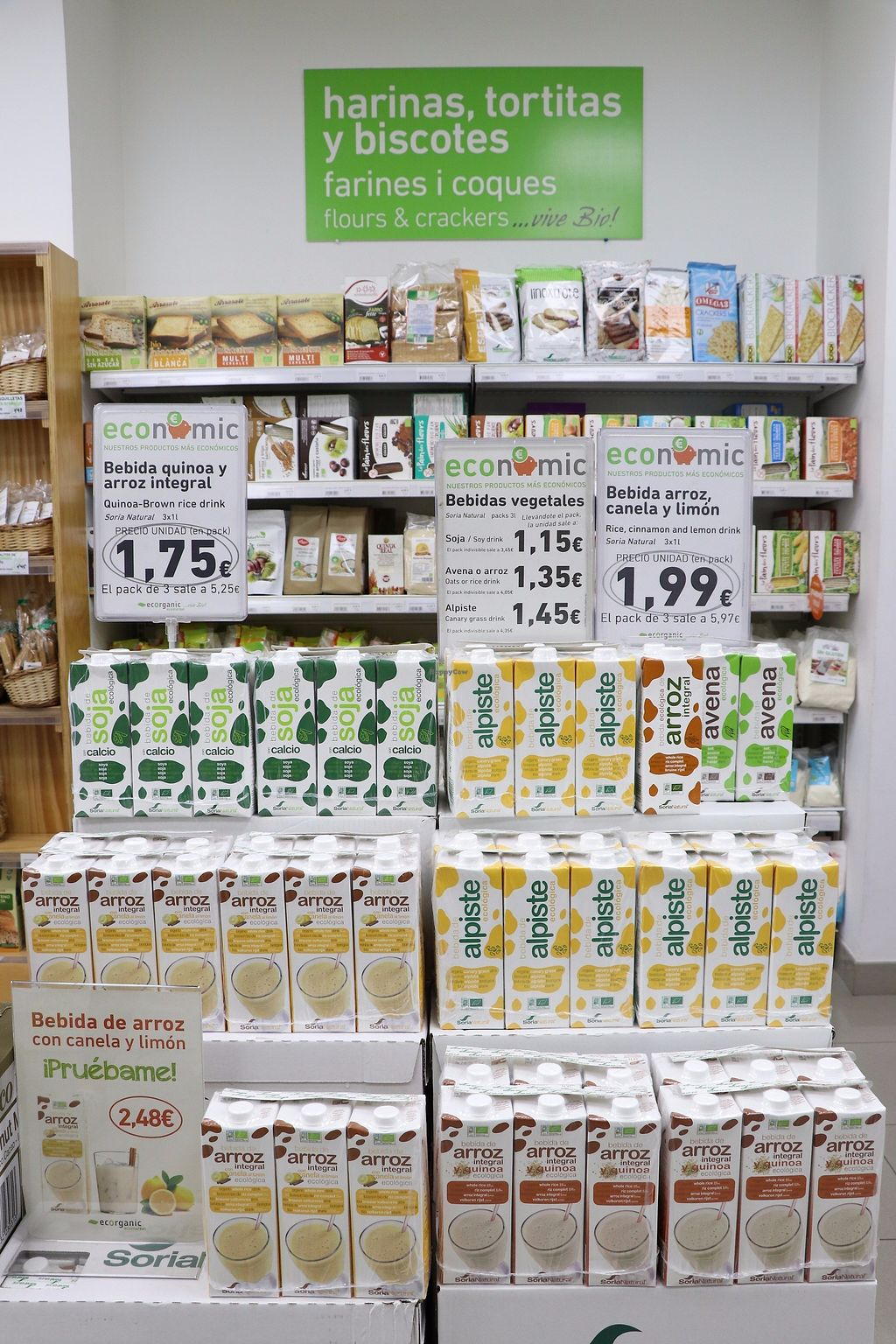 """Photo of Ecorganic  by <a href=""""/members/profile/Organicveganvalencia"""">Organicveganvalencia</a> <br/>Plant based mylks always on offer! <br/> August 14, 2017  - <a href='/contact/abuse/image/98376/292537'>Report</a>"""