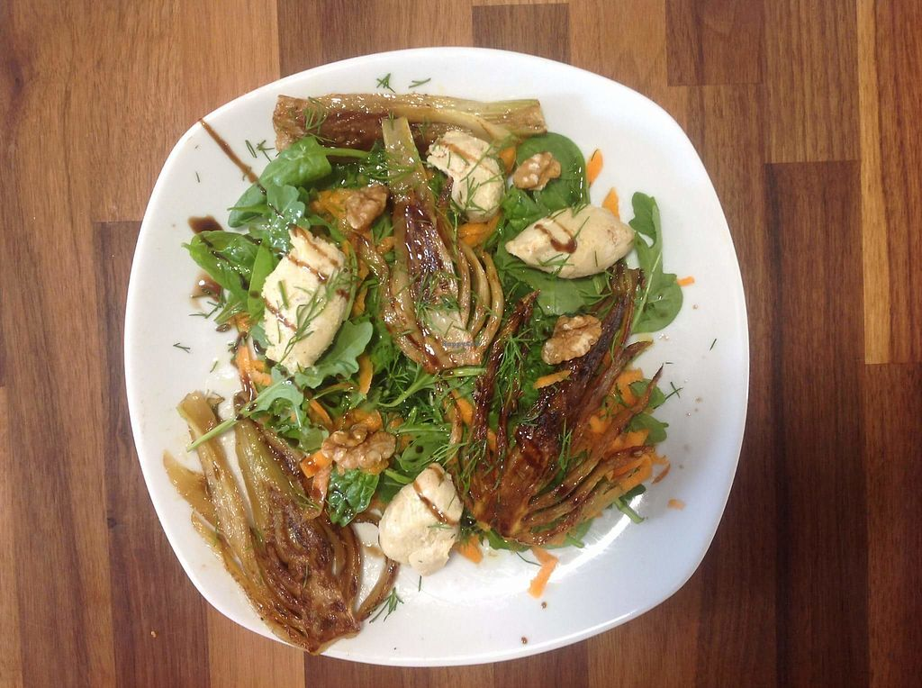 """Photo of CLOSED: Wild Leaf Vegan Cafe  by <a href=""""/members/profile/Meaks"""">Meaks</a> <br/>Caramelised fennel and cashew cheese salad <br/> August 11, 2017  - <a href='/contact/abuse/image/98388/291695'>Report</a>"""