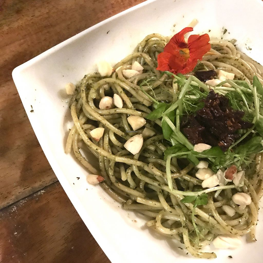 """Photo of REMOVED: Hari OM Food and Wellness  by <a href=""""/members/profile/Matea108"""">Matea108</a> <br/>Pesto gluten free pasta with sun dried tomatoes and almond cheese <br/> August 11, 2017  - <a href='/contact/abuse/image/98417/291670'>Report</a>"""