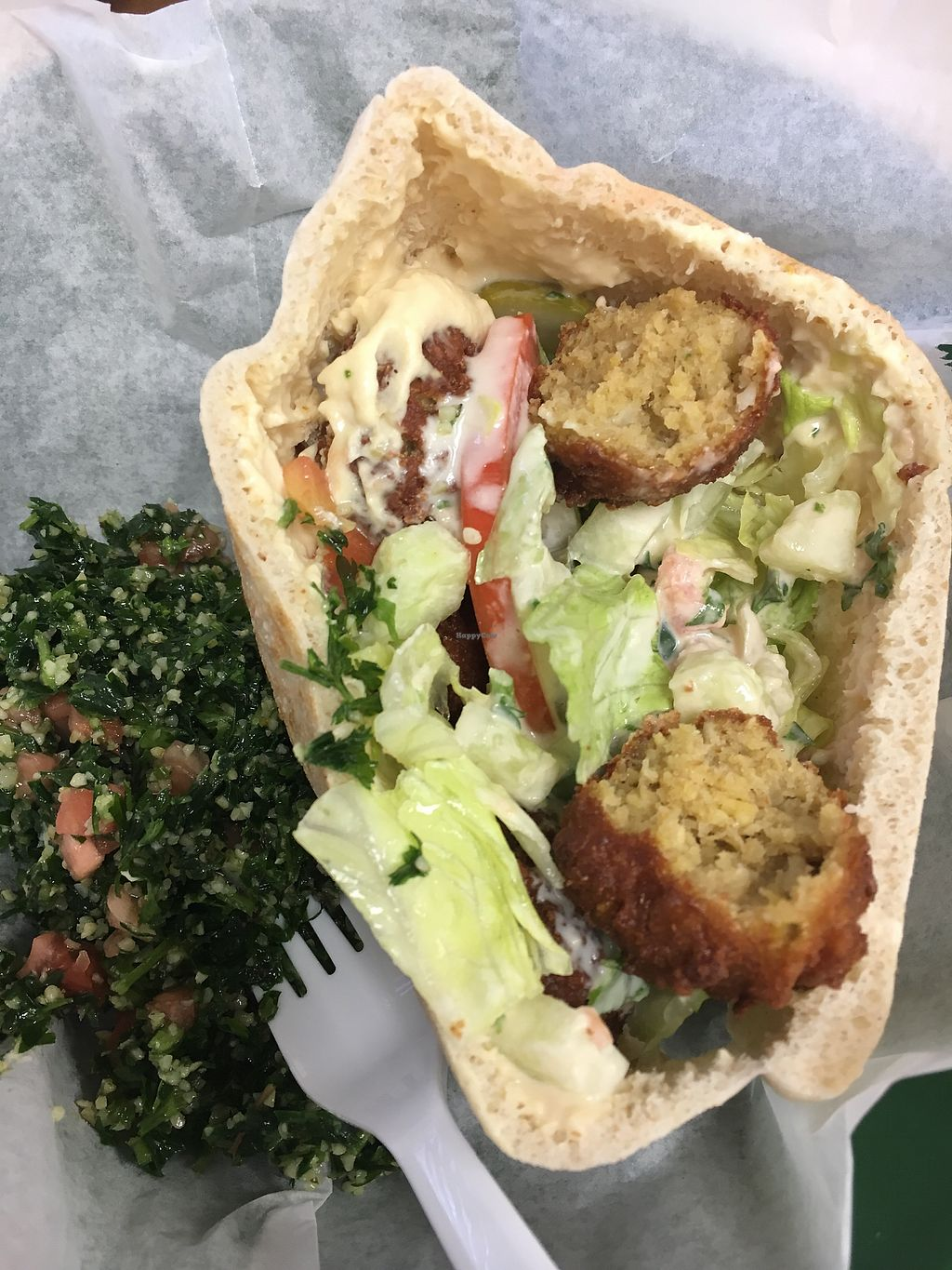 """Photo of Pita House  by <a href=""""/members/profile/turtleveg"""">turtleveg</a> <br/>falafel sandwich with tabouli  <br/> August 11, 2017  - <a href='/contact/abuse/image/98422/291699'>Report</a>"""
