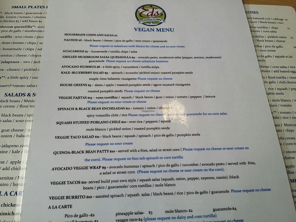 """Photo of Ed's Cantina & Grill  by <a href=""""/members/profile/purplesnowcone"""">purplesnowcone</a> <br/>Vegan menu <br/> August 12, 2017  - <a href='/contact/abuse/image/98433/292062'>Report</a>"""