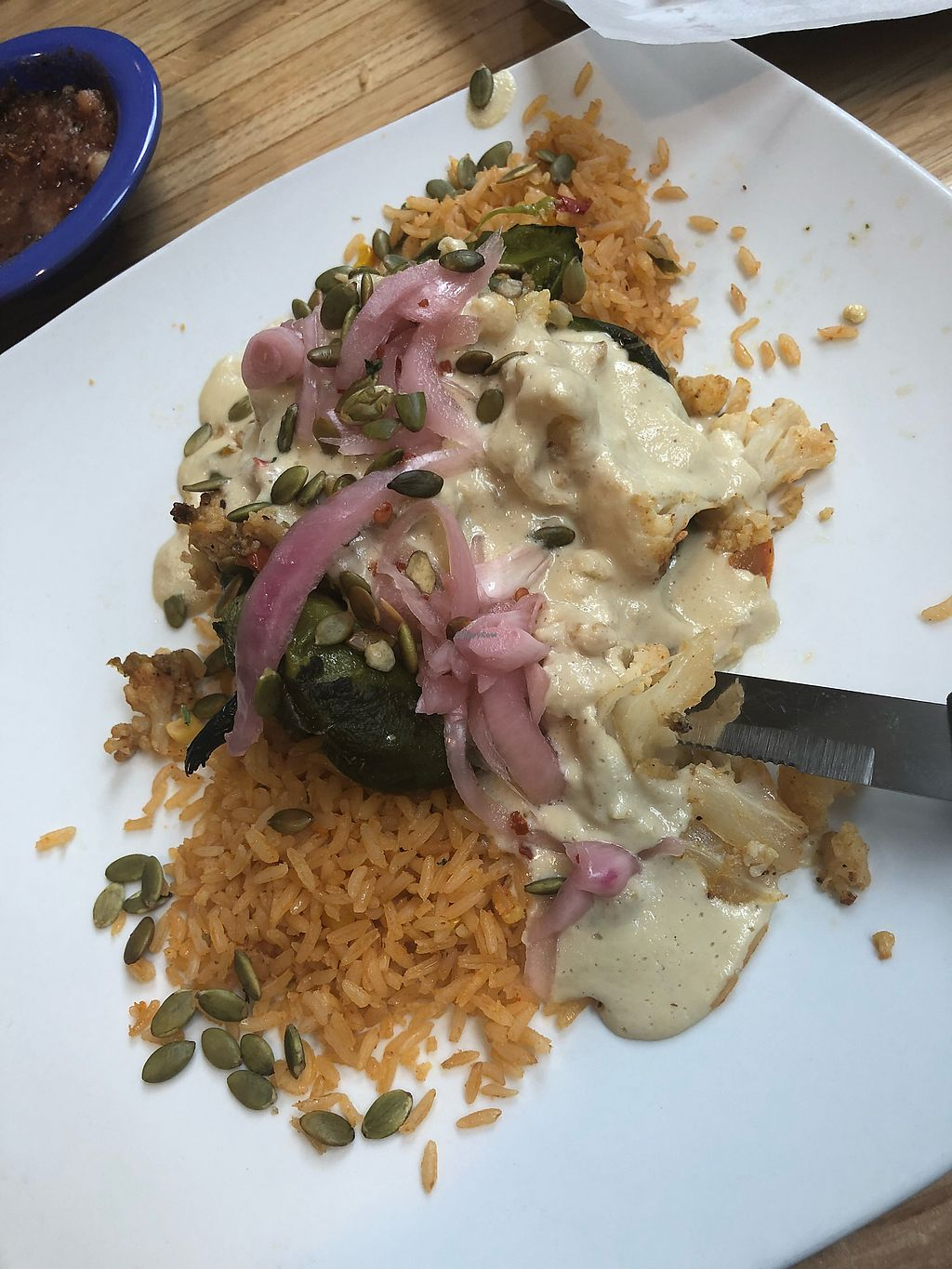 """Photo of Ed's Cantina & Grill  by <a href=""""/members/profile/boulder2beirut"""">boulder2beirut</a> <br/>Definitely get the vegan cauliflower stuffed poblano with mole blanco!! Unbelievably tasty. On the vegan menu.  <br/> January 4, 2018  - <a href='/contact/abuse/image/98433/342763'>Report</a>"""