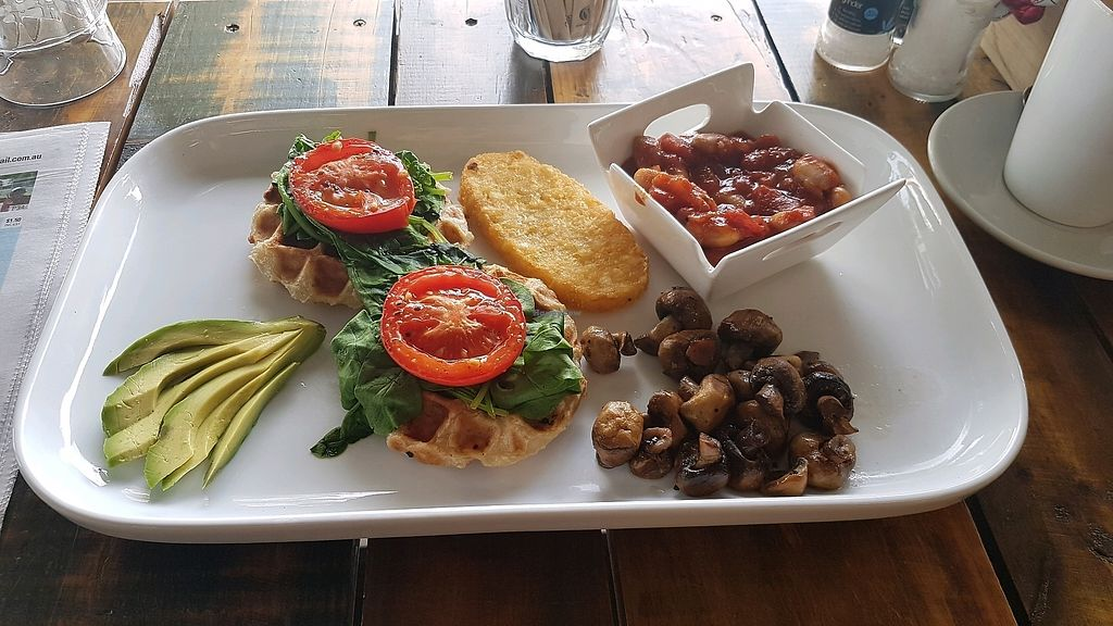 """Photo of Red Brik caffe  by <a href=""""/members/profile/NickChote"""">NickChote</a> <br/>The big Vegan breakfast :)  <br/> December 18, 2017  - <a href='/contact/abuse/image/98439/337070'>Report</a>"""
