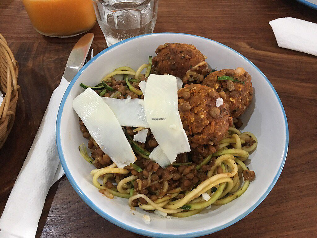 """Photo of Eatwithfingers Cafe  by <a href=""""/members/profile/Luc3enz0"""">Luc3enz0</a> <br/>Vegballs Bolognese <br/> January 11, 2018  - <a href='/contact/abuse/image/98498/345398'>Report</a>"""