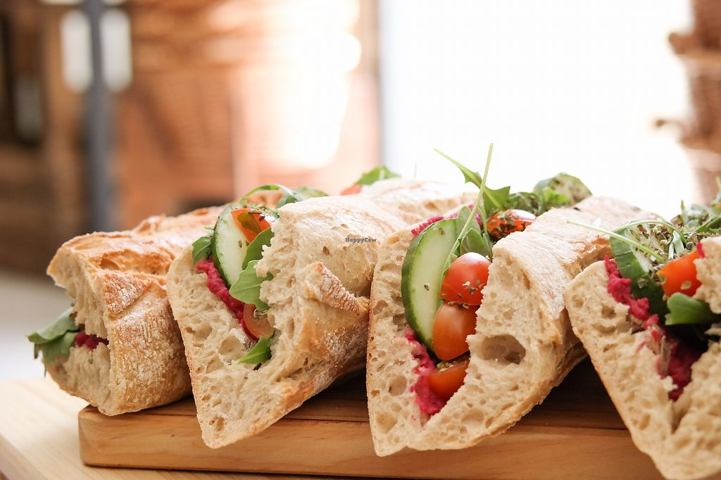 """Photo of Mercearia da Mila  by <a href=""""/members/profile/MatildeAmaral"""">MatildeAmaral</a> <br/>Vegan Sandwich with Beetroot hummus, cucumber, rucula and cherry tomatos! ??? <br/> August 14, 2017  - <a href='/contact/abuse/image/98523/292748'>Report</a>"""