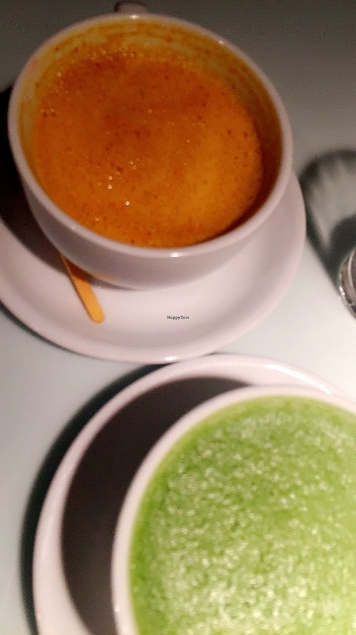 """Photo of Sticks n Sushi  by <a href=""""/members/profile/JohanneJeppesen"""">JohanneJeppesen</a> <br/>Tumeric latte (orange) and matcha latte <br/> January 5, 2018  - <a href='/contact/abuse/image/98535/343187'>Report</a>"""
