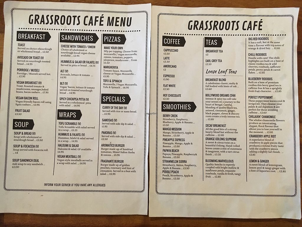 """Photo of Grassroots Cafe  by <a href=""""/members/profile/RhonaM"""">RhonaM</a> <br/>Menu (March 2018) <br/> April 1, 2018  - <a href='/contact/abuse/image/98559/379437'>Report</a>"""