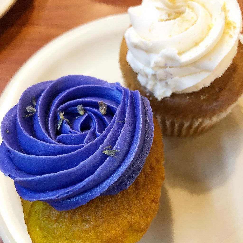 """Photo of Green Vegetarian Cuisine - Downtown  by <a href=""""/members/profile/Laceface"""">Laceface</a> <br/>Lavender and vanilla cupcakes <br/> March 10, 2018  - <a href='/contact/abuse/image/9860/368697'>Report</a>"""