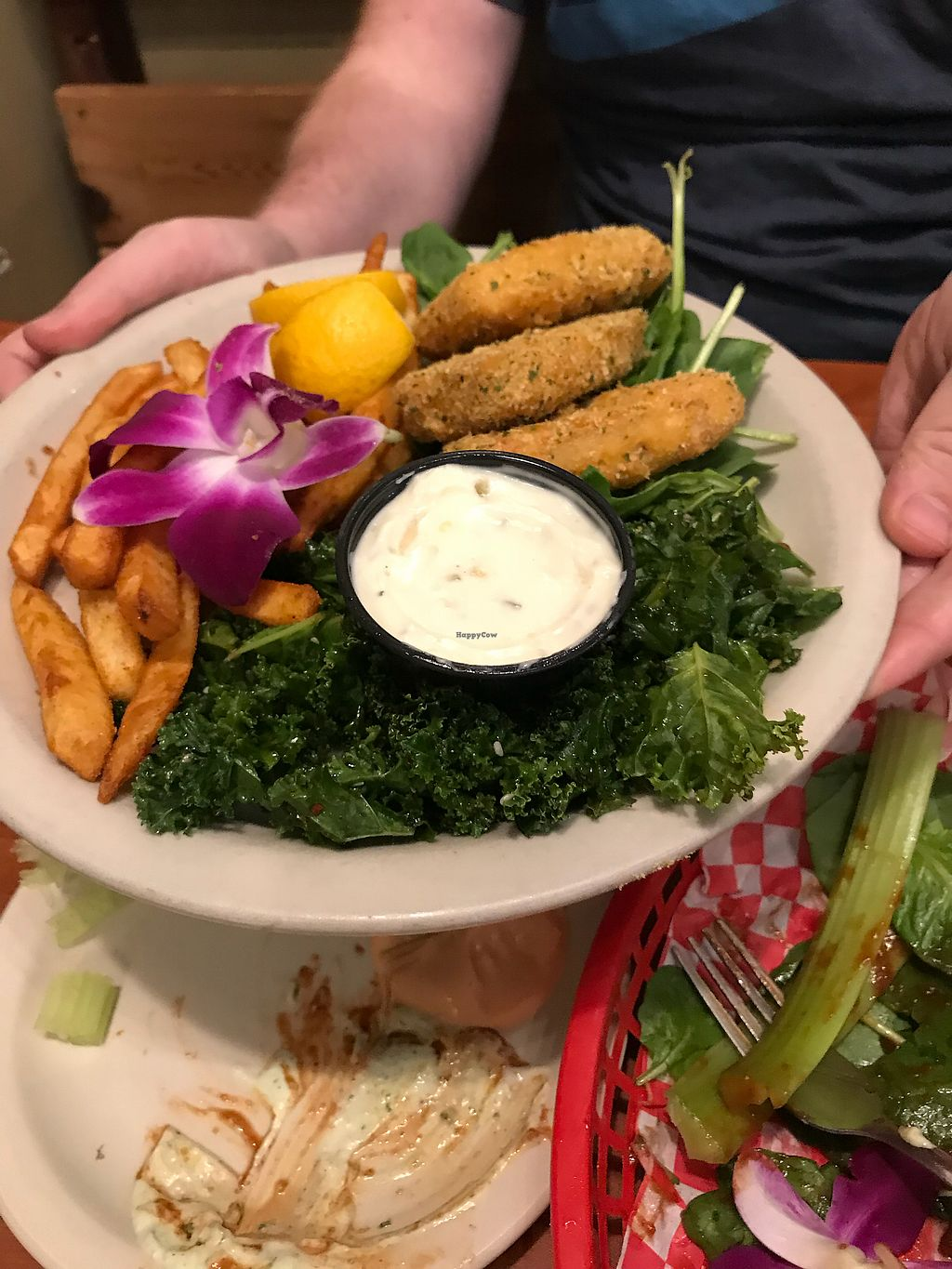 """Photo of Green Vegetarian Cuisine - Downtown  by <a href=""""/members/profile/justjaki21"""">justjaki21</a> <br/>Fish and chips  <br/> April 2, 2018  - <a href='/contact/abuse/image/9860/379830'>Report</a>"""