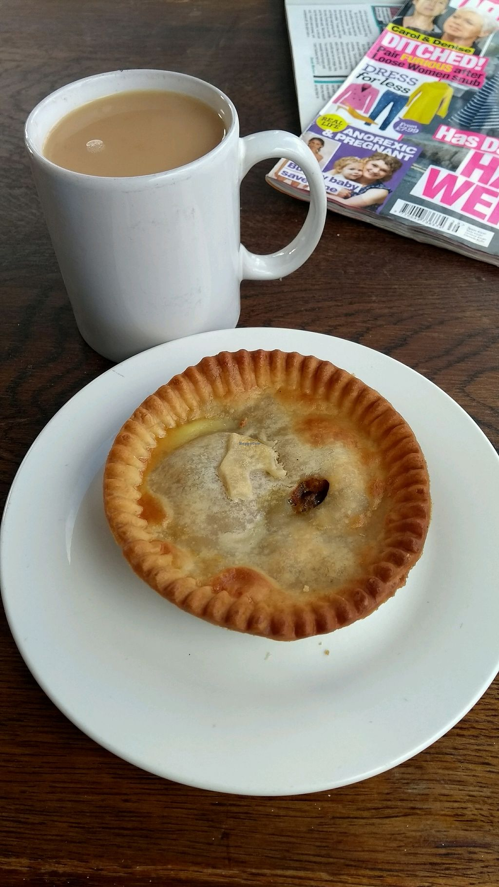 """Photo of The Get Stuffed Pie House  by <a href=""""/members/profile/Ireneveg"""">Ireneveg</a> <br/>Curry pie with tea <br/> November 5, 2017  - <a href='/contact/abuse/image/98667/322147'>Report</a>"""