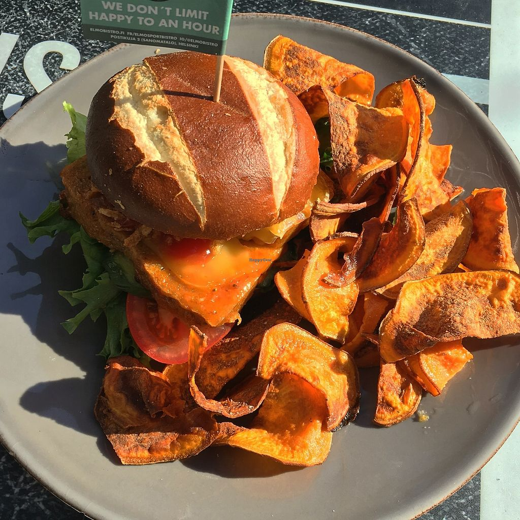 """Photo of Elmo Sport Bistro  by <a href=""""/members/profile/SeitanSeitanSeitan"""">SeitanSeitanSeitan</a> <br/>Seitan burger and side crisps <br/> August 16, 2017  - <a href='/contact/abuse/image/98724/293269'>Report</a>"""