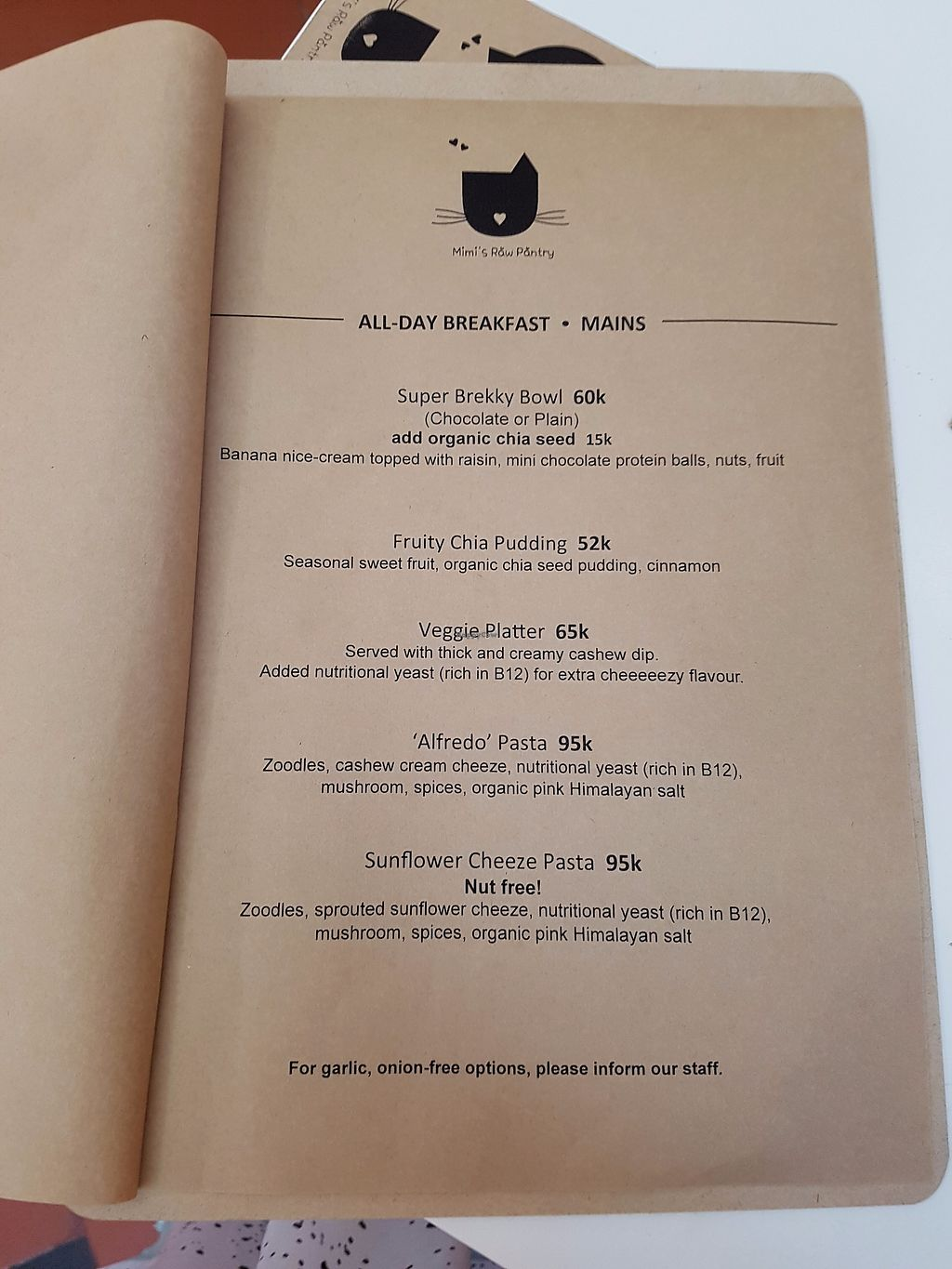 """Photo of Mimi's Raw Pantry  by <a href=""""/members/profile/KyungminYou"""">KyungminYou</a> <br/>menu <br/> September 23, 2017  - <a href='/contact/abuse/image/98727/307366'>Report</a>"""