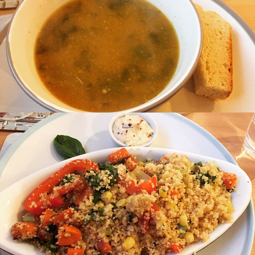 "Photo of The Whale Tale  by <a href=""/members/profile/GoVeganScotland"">GoVeganScotland</a> <br/>cous cous and roast veg / spinach soup <br/> August 19, 2017  - <a href='/contact/abuse/image/98752/294530'>Report</a>"