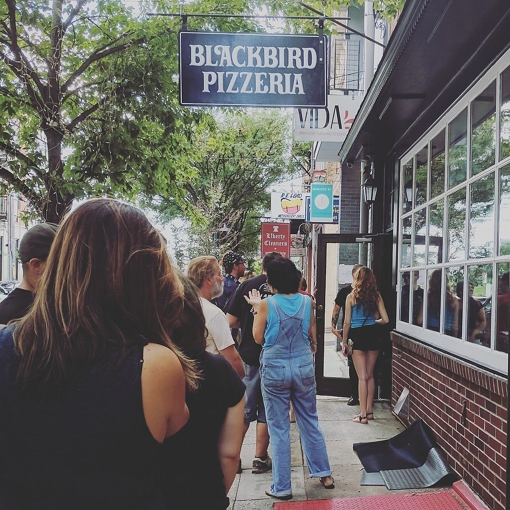 "Photo of Blackbird Pizzeria - Northern Liberties  by <a href=""/members/profile/alevtina"">alevtina</a> <br/>Line forming outside on restaurant's soft launch day (8/16/17) <br/> August 17, 2017  - <a href='/contact/abuse/image/98797/293617'>Report</a>"