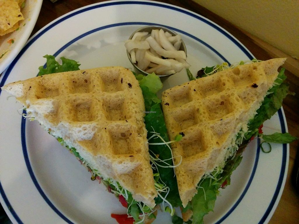 """Photo of New Moon Foods  by <a href=""""/members/profile/alexandra_vegan"""">alexandra_vegan</a> <br/>the OG waffle sandwich <br/> September 30, 2017  - <a href='/contact/abuse/image/98813/309956'>Report</a>"""
