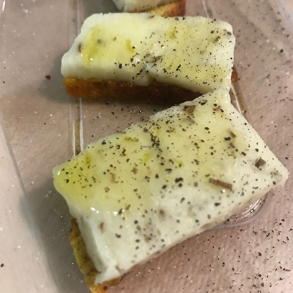 """Photo of Vegan Yes - Whitechapel  by <a href=""""/members/profile/SeanDavidBurke"""">SeanDavidBurke</a> <br/>Fresh vegan mozzarella on a crouton with olive oil and pepper <br/> September 20, 2017  - <a href='/contact/abuse/image/98828/306637'>Report</a>"""