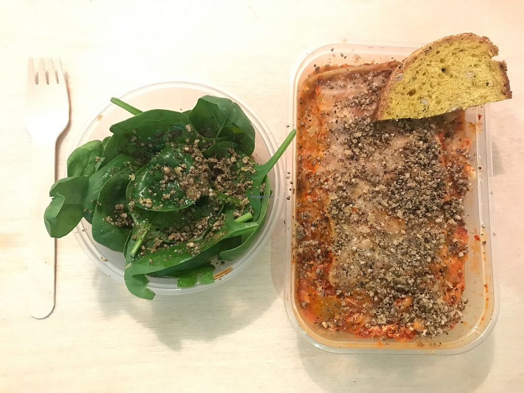 """Photo of Vegan Yes - Whitechapel  by <a href=""""/members/profile/SeanDavidBurke"""">SeanDavidBurke</a> <br/>Spinach, soy sauce and nut/seeds parm, with kimchi lasagna.  <br/> September 20, 2017  - <a href='/contact/abuse/image/98828/306638'>Report</a>"""