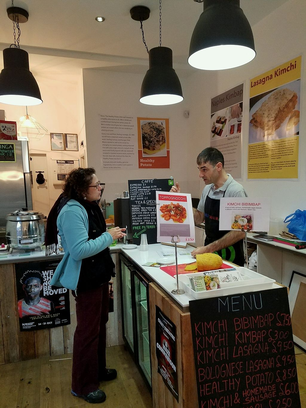 """Photo of Vegan Yes - Whitechapel  by <a href=""""/members/profile/jbuberel"""">jbuberel</a> <br/>Mauro , owner offering a sample of his homemade Nutella <br/> October 1, 2017  - <a href='/contact/abuse/image/98828/310705'>Report</a>"""
