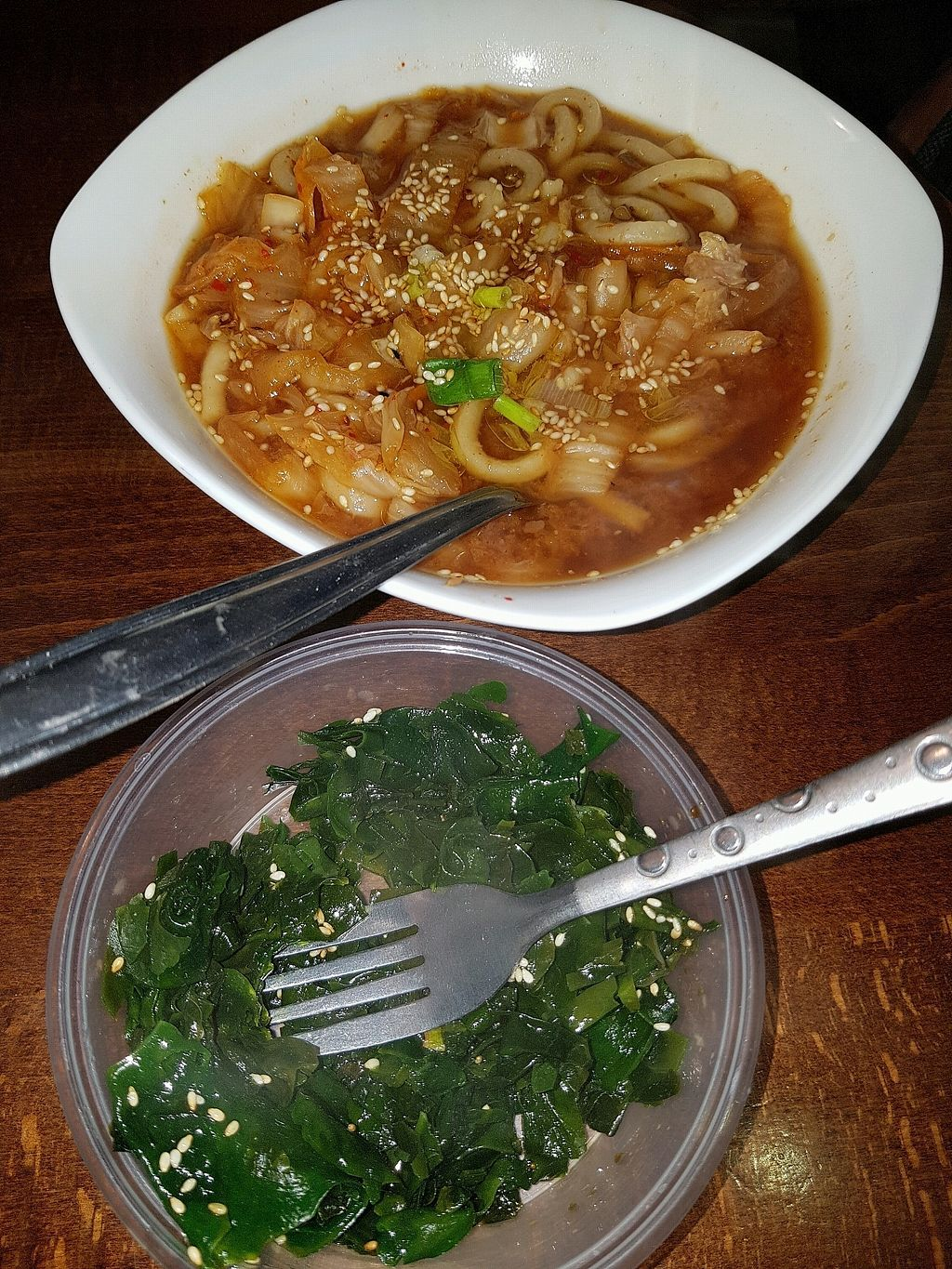 """Photo of Vegan Yes - Whitechapel  by <a href=""""/members/profile/estefinparis"""">estefinparis</a> <br/>Kimchi udon and seaweed salad <br/> December 5, 2017  - <a href='/contact/abuse/image/98828/332709'>Report</a>"""