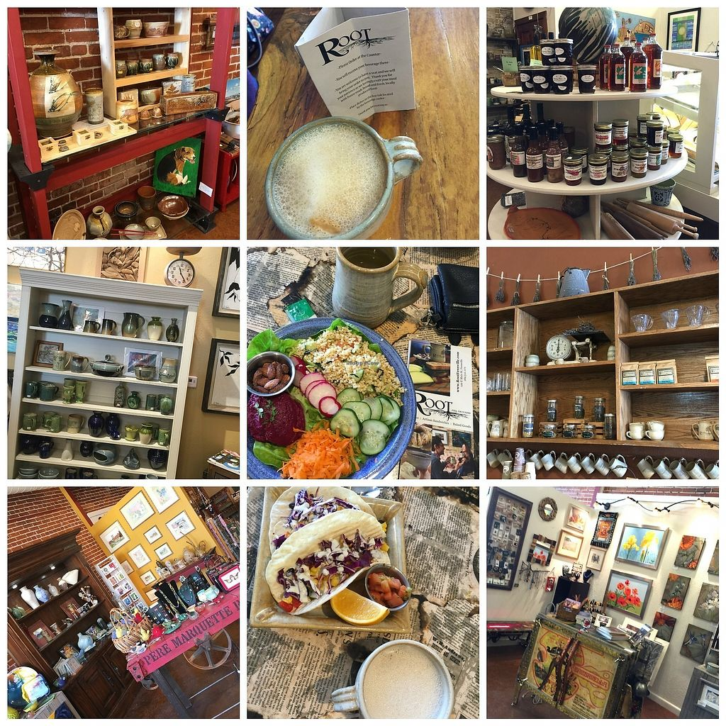 """Photo of Root Cafe, Coffee House & Spirits  by <a href=""""/members/profile/BeccaBochenek"""">BeccaBochenek</a> <br/>This wonderful cafe has a couple yummy veg options. EARTH BOWL- Seasonal Fresh Veggies, Italian Millet, Beet Hummus, Almonds. VEGGIE TACOS - Roasted Root Veggies, Spicy Corn Relish, Grilled Apple.  <br/> November 20, 2017  - <a href='/contact/abuse/image/98833/327604'>Report</a>"""