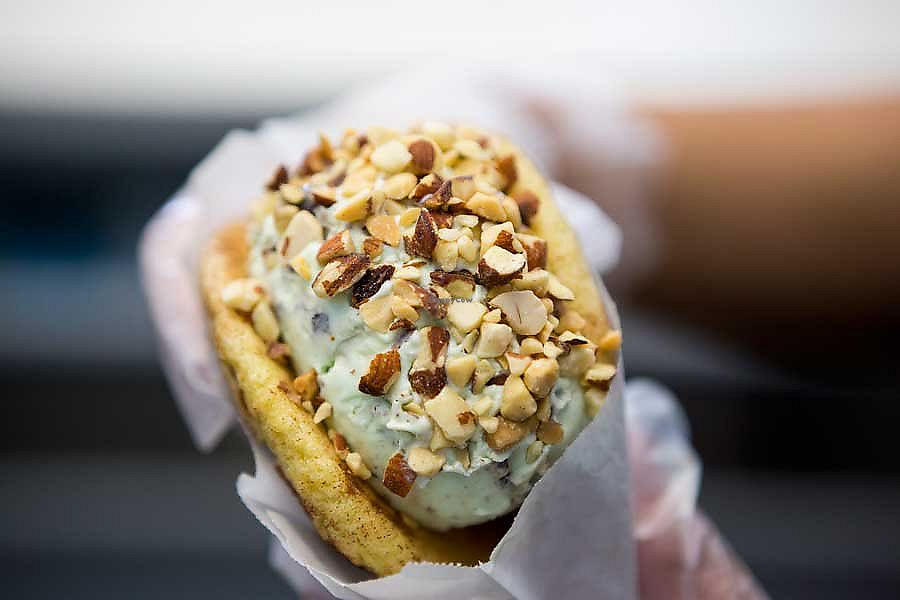 """Photo of Cream  by <a href=""""/members/profile/Btstill"""">Btstill</a> <br/>ice cream sandwich with nut topping  <br/> August 17, 2017  - <a href='/contact/abuse/image/98863/293732'>Report</a>"""