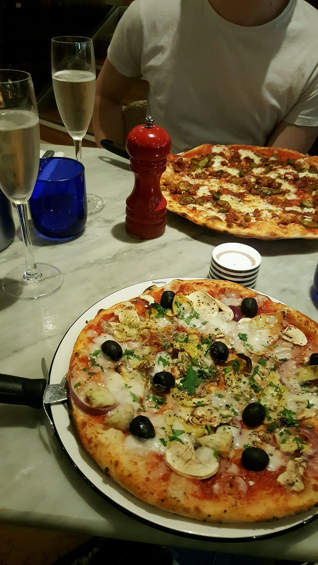 """Photo of Pizza Express - Eldon Square  by <a href=""""/members/profile/HannahCharlotte"""">HannahCharlotte</a> <br/>The Vegan Giardiniera (vegan mozzarella, artichokes, mushrooms, red onions and black olives)  <br/> April 11, 2018  - <a href='/contact/abuse/image/98870/383985'>Report</a>"""