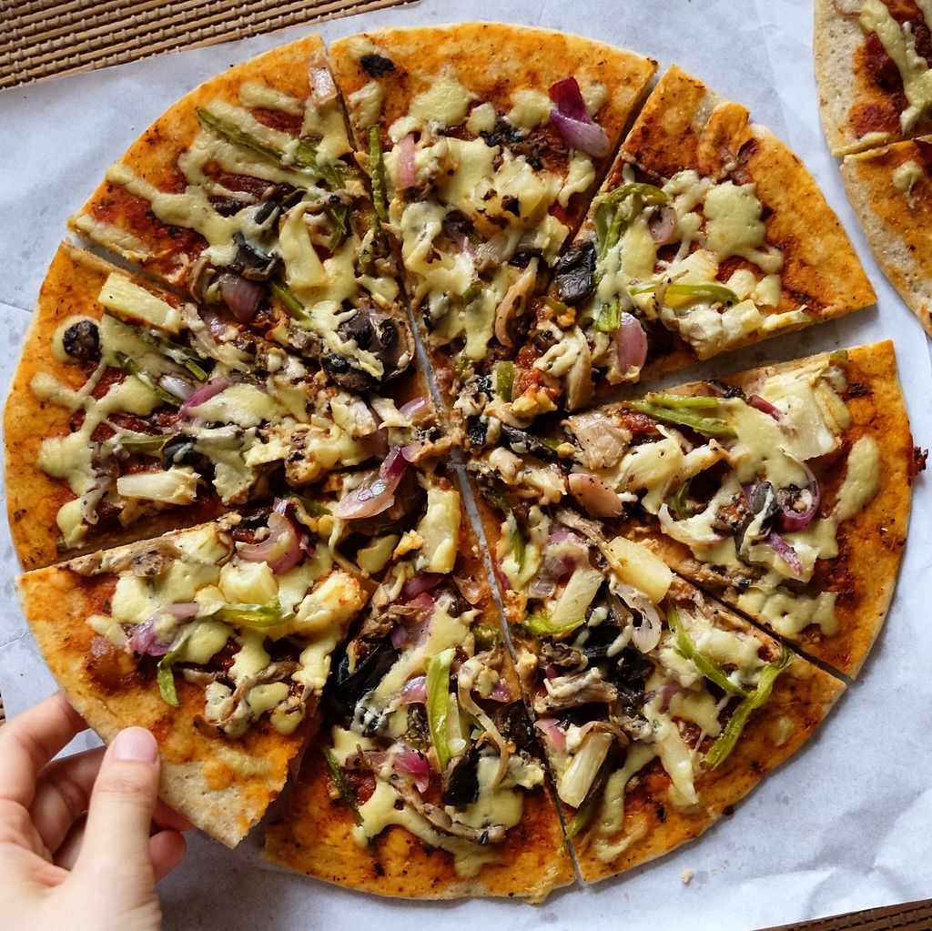 """Photo of Indulge  by <a href=""""/members/profile/QUEENDIANE"""">QUEENDIANE</a> <br/>Supreme Indulgence Our signature pizza Topped with green bellpeppers, herbed onions, button mushrooms, smoky straw mushrooms, pineapples, and crumbles of our homemade Peppero-nice Php450/box, Php65/slice <br/> August 18, 2017  - <a href='/contact/abuse/image/98896/293859'>Report</a>"""