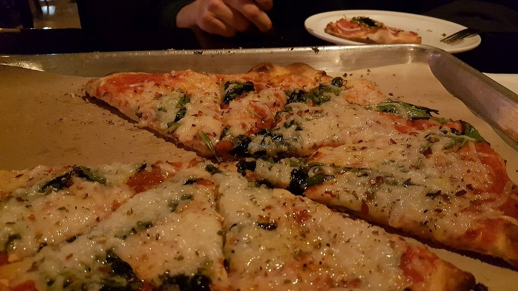 """Photo of Need Pizza  by <a href=""""/members/profile/WiderVistas"""">WiderVistas</a> <br/>Spinach & onion pizza with vegan cheese <br/> March 18, 2018  - <a href='/contact/abuse/image/98946/372559'>Report</a>"""