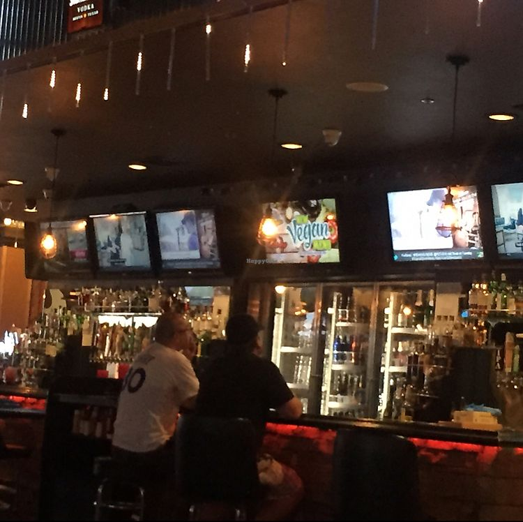 """Photo of The Whiskey Barrel  by <a href=""""/members/profile/corbett"""">corbett</a> <br/>vegan menu advert  (see middle tv screen)--you have to ask for it but two pages of options  <br/> August 27, 2017  - <a href='/contact/abuse/image/98965/297963'>Report</a>"""