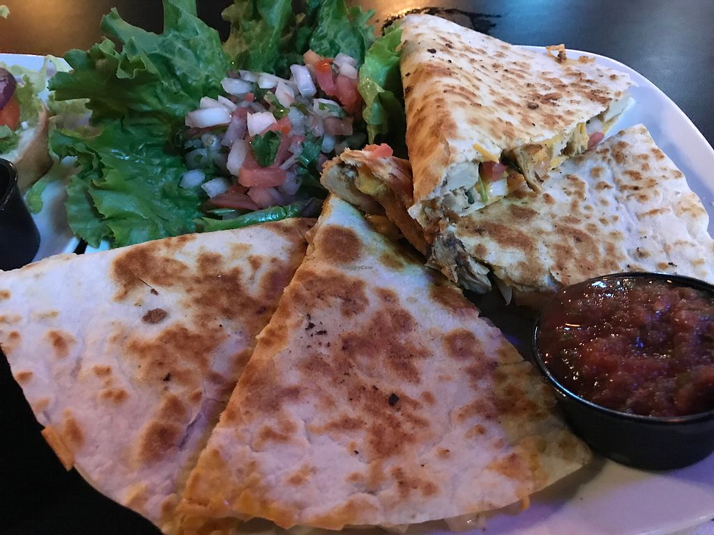 """Photo of The Whiskey Barrel  by <a href=""""/members/profile/CorvairForum"""">CorvairForum</a> <br/>Vegan """"chicken"""" quesadilla  <br/> October 25, 2017  - <a href='/contact/abuse/image/98965/318831'>Report</a>"""