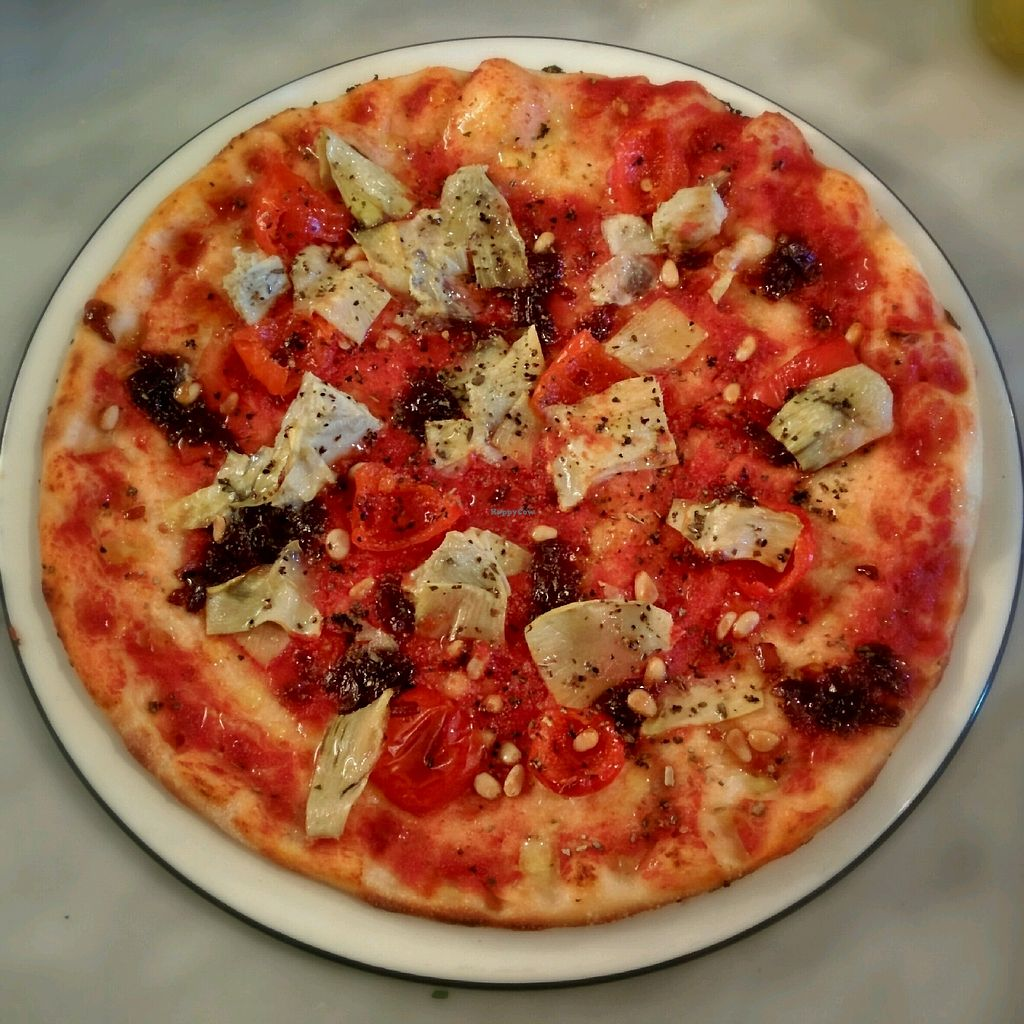"""Photo of Pizza Express  by <a href=""""/members/profile/jord_aka"""">jord_aka</a> <br/>Classic base with artichoke, caramelised onion, pine kernels, sweet pepperdew peppers and garlic oil <br/> February 28, 2018  - <a href='/contact/abuse/image/98975/365030'>Report</a>"""