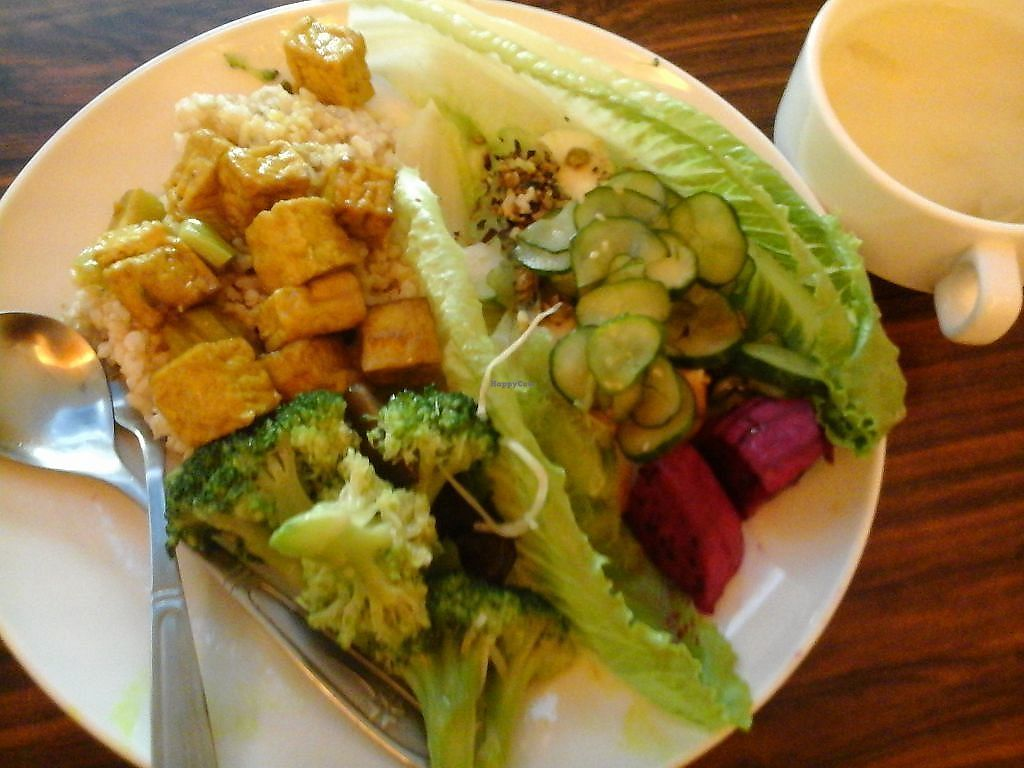 """Photo of Shu Xing - Healthy Vegetarian Food  by <a href=""""/members/profile/junya"""">junya</a> <br/>A meal: Germinated brown rice, tofu, Romaine lettuce, cucumbers, beets, broccoli <br/> September 12, 2017  - <a href='/contact/abuse/image/99004/303645'>Report</a>"""