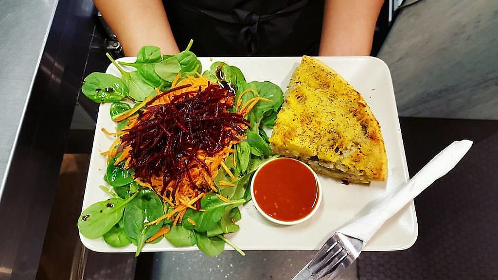 """Photo of The Organic Food and Wine Deli  by <a href=""""/members/profile/verbosity"""">verbosity</a> <br/>Vegan kashmir pie with salad and spicy tomato chutney <br/> May 20, 2018  - <a href='/contact/abuse/image/9907/402711'>Report</a>"""