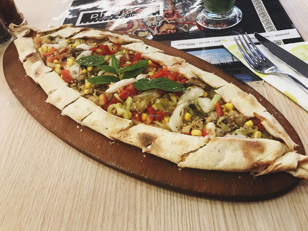 """Photo of CLOSED: Pidemex  by <a href=""""/members/profile/veganoteacher"""">veganoteacher</a> <br/>Vegan Turkish Pide  <br/> August 21, 2017  - <a href='/contact/abuse/image/99101/295167'>Report</a>"""