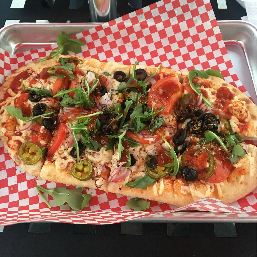 """Photo of Pizza at Titus Landing  by <a href=""""/members/profile/smiley-coyote"""">smiley-coyote</a> <br/>Build your own with vegan cheese <br/> December 20, 2017  - <a href='/contact/abuse/image/99125/337568'>Report</a>"""
