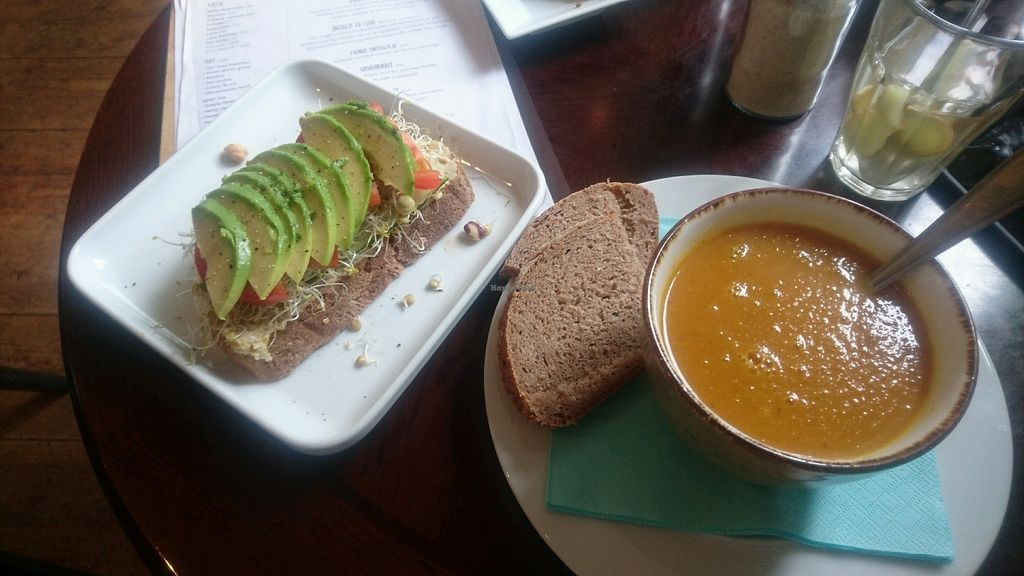 """Photo of Lokaal 16  by <a href=""""/members/profile/FrankAms"""">FrankAms</a> <br/>avocado power and daily soup carrot/ginger <br/> September 12, 2017  - <a href='/contact/abuse/image/99127/303655'>Report</a>"""