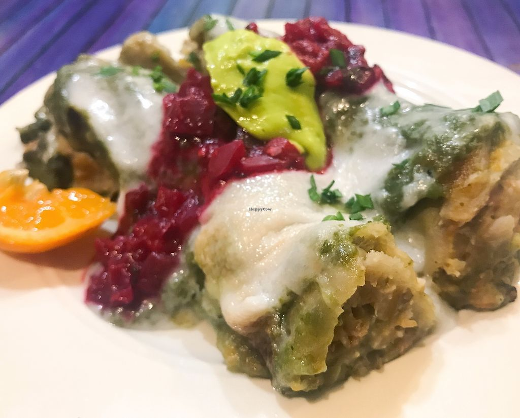 """Photo of OurPlace  by <a href=""""/members/profile/AllisonJ"""">AllisonJ</a> <br/>Amazing enchiladas made completely with from scratch with all organic, glutenfree, whole plants <br/> November 6, 2017  - <a href='/contact/abuse/image/99134/322683'>Report</a>"""