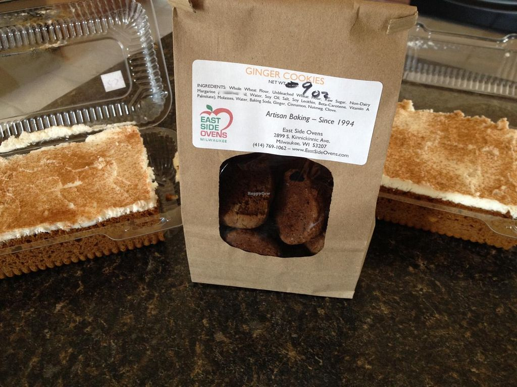 Photo of East Side Ovens Bakery  by RamblingVegans <br/>Pumpkin cake and ginger cookies.   <br/> March 22, 2014  - <a href='/contact/abuse/image/9914/66340'>Report</a>
