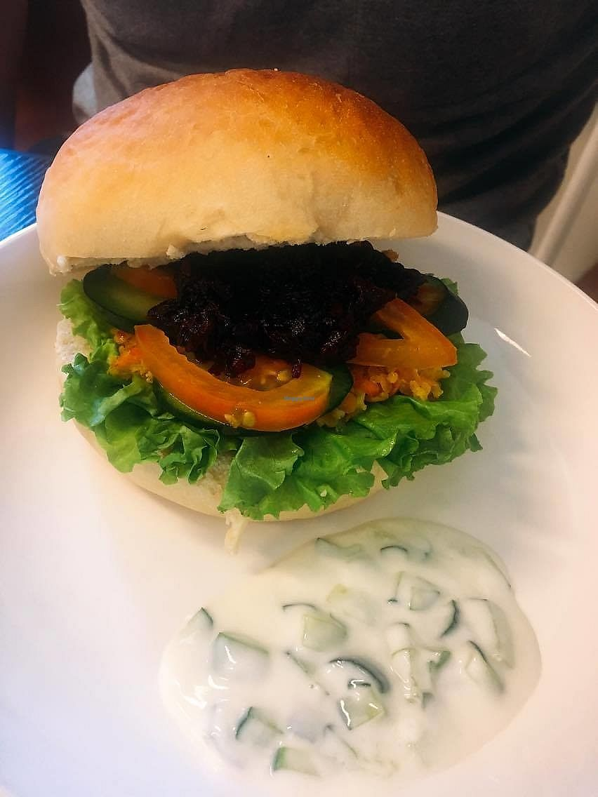 """Photo of Lotus Cafe  by <a href=""""/members/profile/BlankaC"""">BlankaC</a> <br/>Beetroot burger, the bun a bit too big so it makes the whole burger a bit too dry, otherwise really nice <br/> August 26, 2017  - <a href='/contact/abuse/image/99174/297308'>Report</a>"""