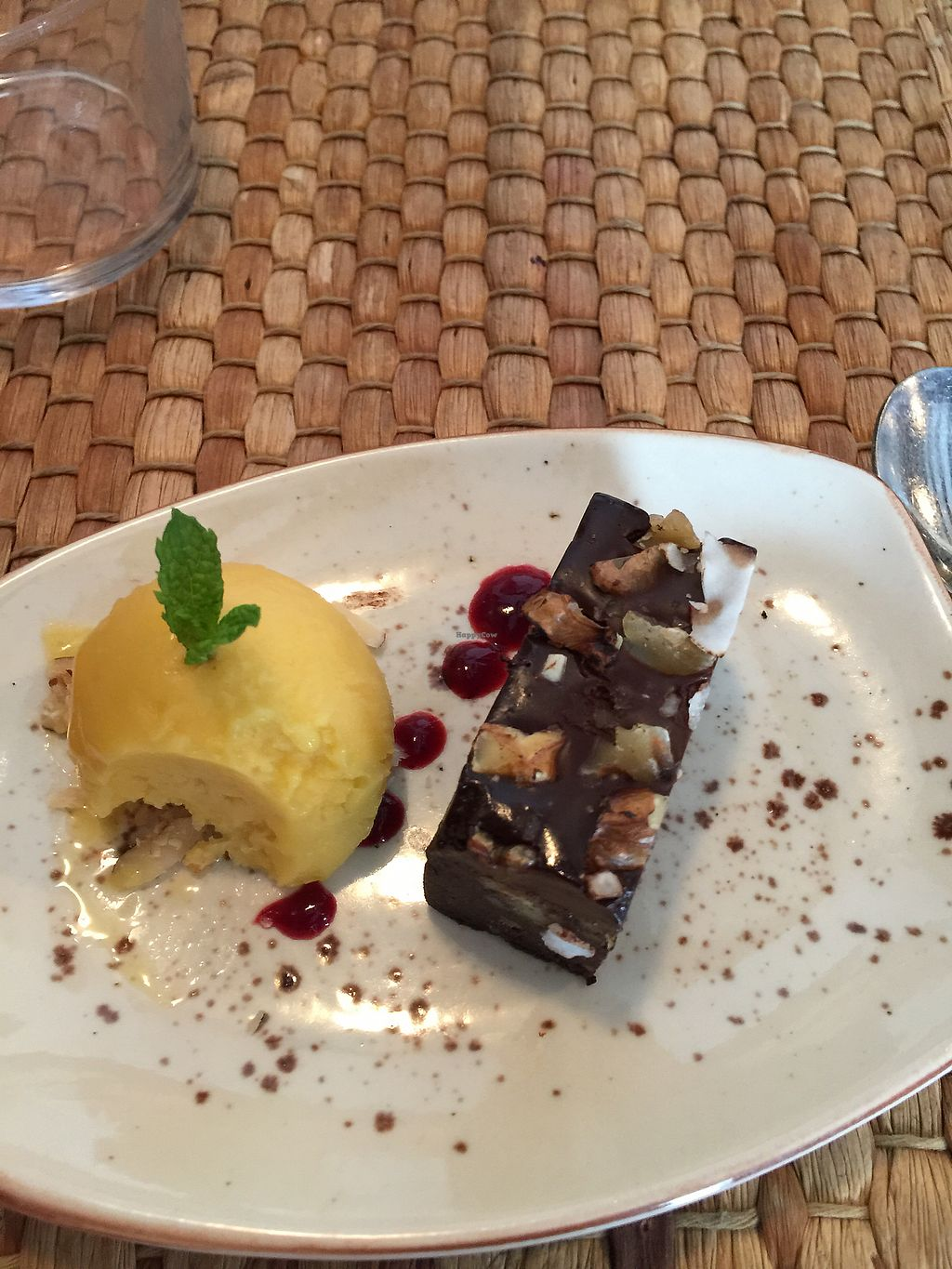 """Photo of Duke Restaurant  by <a href=""""/members/profile/anabelucha"""">anabelucha</a> <br/>decadent vegan brownie with mango ice cream ?  <br/> August 23, 2017  - <a href='/contact/abuse/image/99192/296189'>Report</a>"""